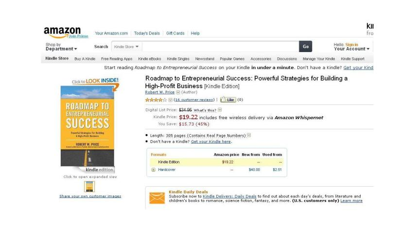 Roadmap To Entrepreneurial Success  Robert W Price